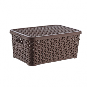 10 Litre Plastic Storage Boxes In Dark Brown Rattan Design