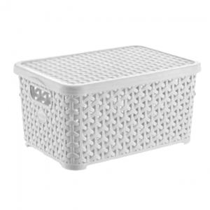 10 Litre Plastic Storage Boxes In White Rattan Design