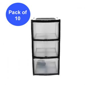 10 x 3 Drawer Plastic Storage Tower Unit - Black (Pack of 10)