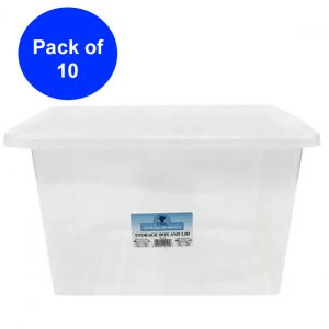 10 x 35 Litre Plastic Storage Box with Clear Lid (Pack of 10)