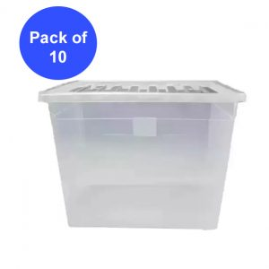 10 x 80 Litre Plastic Container With Clear Lid (Pack of 10)