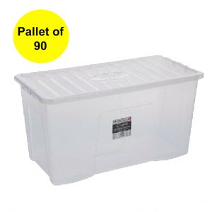 110 Litre Plastic Storage Boxes with Clear Lid (Pallet of 90)