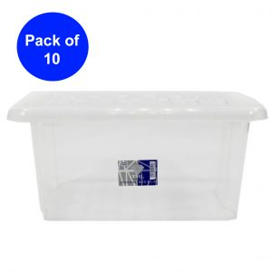 10 x 13 Litre Plastic Storage Box With Clear Lid (Pack of 10)