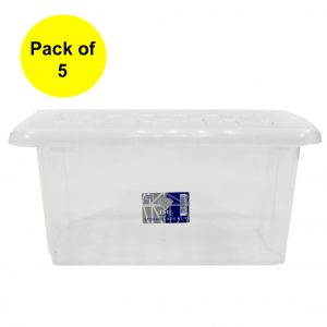 5 x 13 Litre Plastic Storage Box With Clear Lid (Pack of 5)