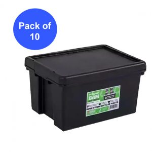Black Recycled 16L Heavy Duty Box & Lid (Pack of 10)