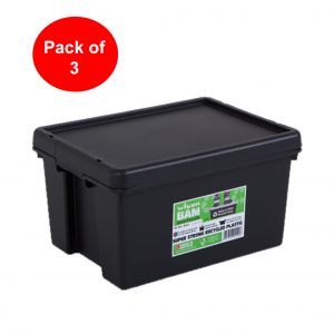 Black Recycled 16L Heavy Duty Box & Lid (Pack of 3)