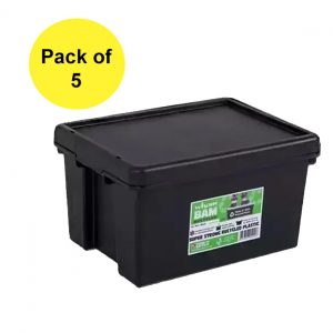 Black Recycled 16L Heavy Duty Box & Lid (Pack of 5)