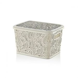 17 Litre Cream Plastic Lace Storage Box With Lid