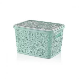 17 Litre Pastel Green Plastic Lace Storage Box With Lid