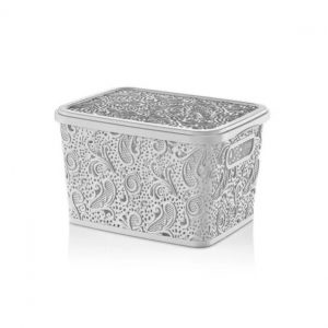 17 Litre White Plastic Lace Storage Box With Lid