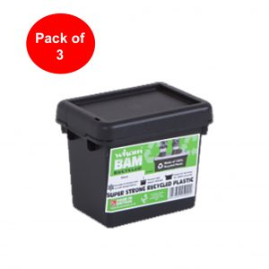 Black Recycled 2.3L Heavy Duty Box & Lid (Pack of 3)