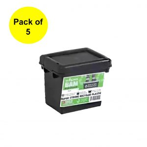 Black Recycled 2.3L Heavy Duty Box & Lid (Pack of 5)