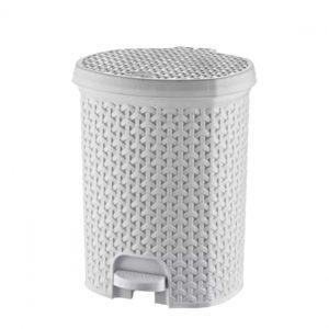 21 Litre White Rattan Style Plastic Pedal Bin