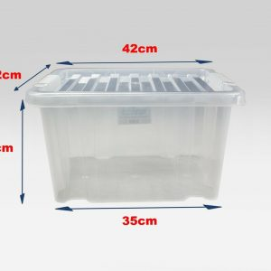 24 Litre Plastic Storage Boxes with Clear Lid (Pallet of 100)