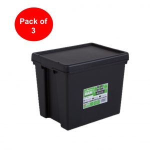 Black Recycled 24L Heavy Duty Box & Lid (Pack of 3)
