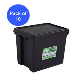 Black Recycled 24L Heavy Duty Box & Lid (Pack of 10)