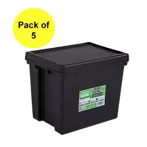 Black Recycled 24L Heavy Duty Box & Lid (Pack of 5)