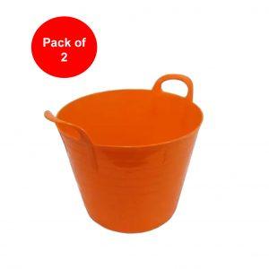 26 Litre Orange Plastic Flexi Tub (Pack of 2)