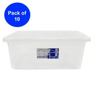 10 x 28 Litre Underbed Storage Box With Clear Lid (Pack of 10)