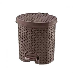 3 Litre Rattan Style Plastic Pedal Bin - Dark Brown