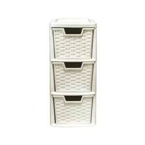 3 Drawer Mini Rattan Cream Plastic Storage Drawer Tower
