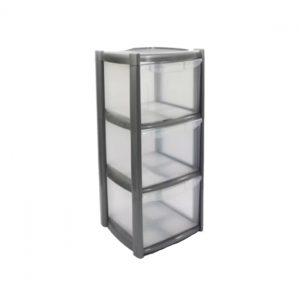 3 Drawer Small Tower Storage Unit - Silver