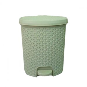 3 Litre Rattan Style Plastic Pedal Bin - Ivory