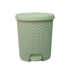 3 Litre Rattan Style Plastic Pedal Bin - Ivory