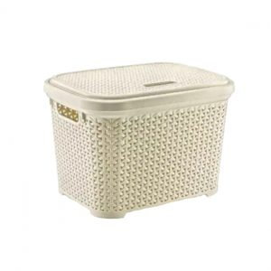 Large 30 Litre Cream Plastic Storage Rattan Box With Lid