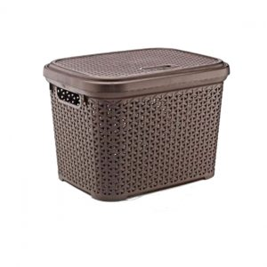 Large 30 Litre Dark Brown Plastic Storage Rattan Box With Lid