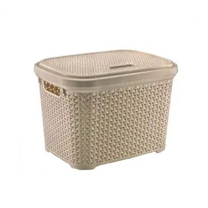 Large 30 Litre Light Brown Plastic Storage Rattan Box With Lid