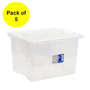 5 x 30 Litre Plastic Storage Box with Clear Lid (Pack of 5)