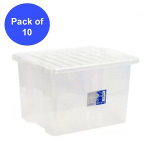 10 x 30 Litre Plastic Storage Box With Clear Lid (Pack of 10)