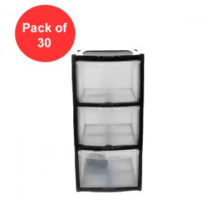 30 x 3 Drawer Plastic Storage Tower Unit - Black (Pack of 30)