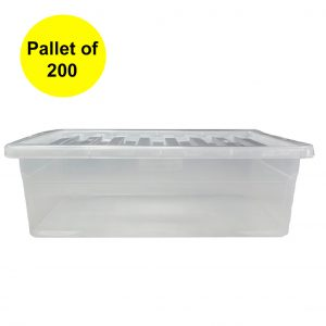 32 Litre Underbed Plastic Storage Boxes with Clear Lid (Pallet of 200)