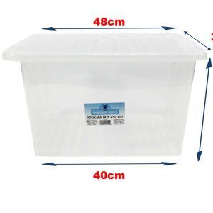 5 x 35 Litre Plastic Storage Box With Clear Lid (Pack of 5)