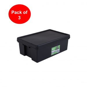 Black Recycled 36L Heavy Duty Box & Lid (Pack of 3)