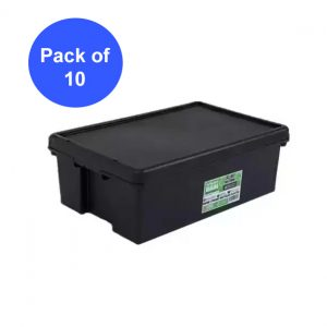Black Recycled 36L Heavy Duty Box & Lid (Pack of 10)