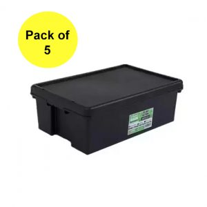 Black Recycled 36L Heavy Duty Box & Lid (Pack of 5)
