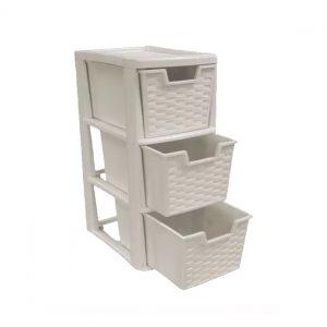3 Drawer Small Mushroom Rattan Plastic Storage Unit