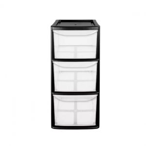 3 Drawer Small Tower Storage Unit - Black
