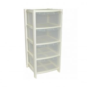 4 Drawer Plastic Storage Tower Unit – Cream