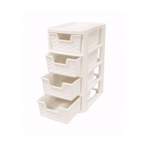 4 Drawer Small Cream Rattan Plastic Storage Unit