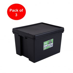Black Recycled 45L Heavy Duty Box & Lid (Pack of 3)