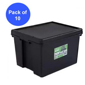 Black Recycled 45L Heavy Duty Box & Lid (Pack of 10)