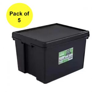 Black Recycled 45L Heavy Duty Box & Lid (Pack of 5)