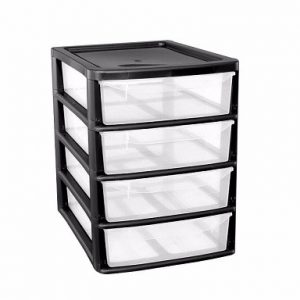 Black 4 Drawer Plastic A4+ Slim Tower