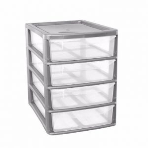 Silver 4 Drawer Plastic A4+ Slim Tower