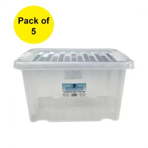 5 x 24 Litre Plastic Storage Box With Clear Lid (Pack of 5)
