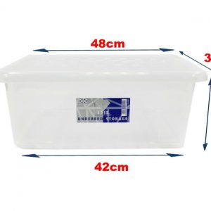 5 x 28 Litre Underbed Storage Box With Clear Lid (Pack of 5)
